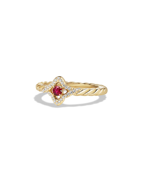 David Yurman 5mm Venetian Quatrefoil Ruby Ring, Size