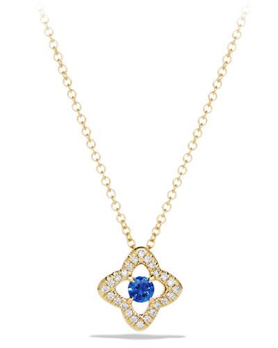 5mm Venetian Quatrefoil Blue Sapphire Necklace