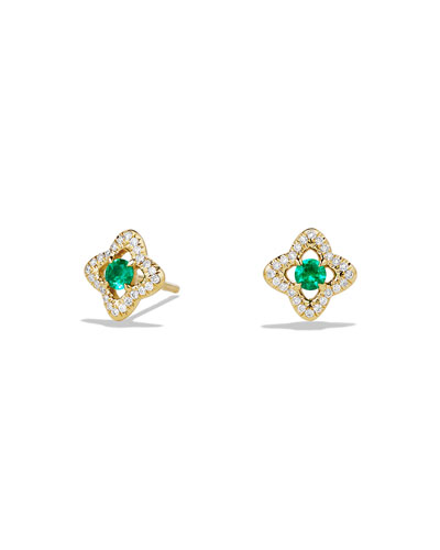 Venetian Quatrefoil Emerald Earrings