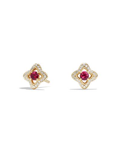 5mm Venetian Quatrefoil Ruby Earrings