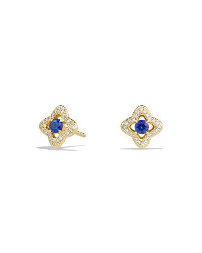 Venetian Quatrefoil Blue Sapphire Earrings