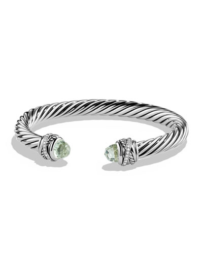 David Yurman 7mm Prasiolite & Diamond Crossover Bracelet