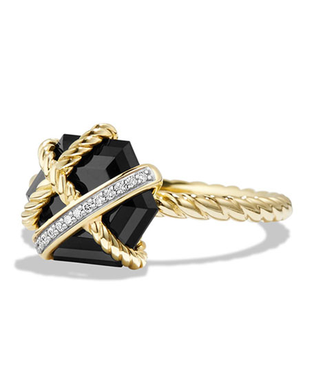 David Yurman 10mm Petite Cable Wrap Onyx Ring
