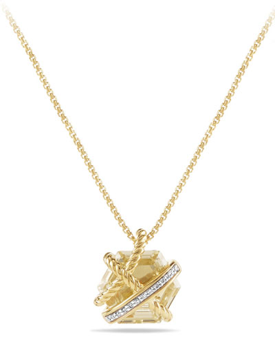 Petite Cable Wrap Champagne Citrine Pendant Necklace