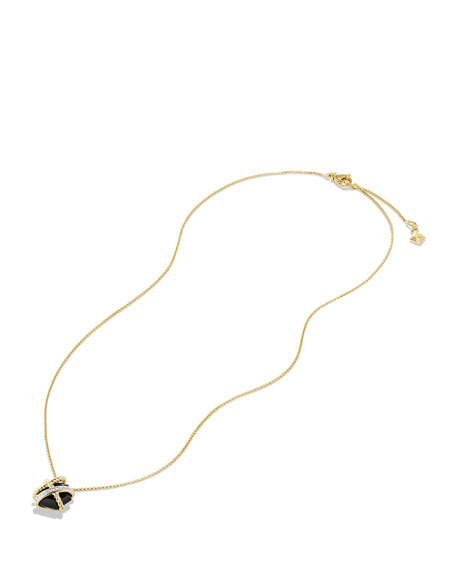 10mm Petite Cable Wrap Onyx Pendant Necklace