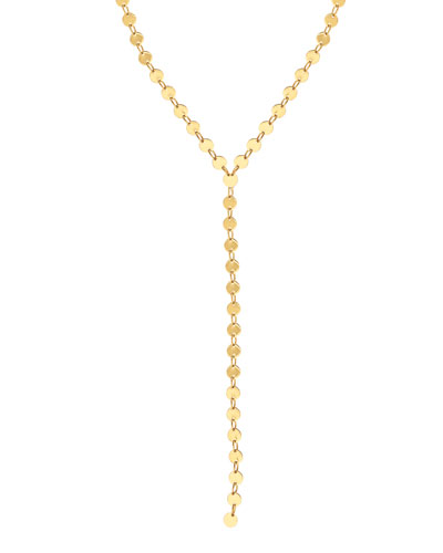 14k Elite Mirror Disc Lariat Necklace