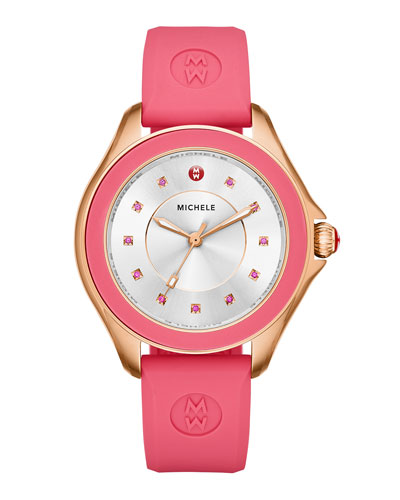 Cape Pink Topaz Watch with Silicone Strap, Rose Golden