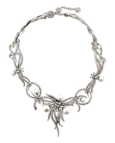 Rhodium-Plated Statement Necklace