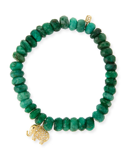 8mm Faceted Emerald Beaded Bracelet with 14k Gold Diamond Elephant Charm