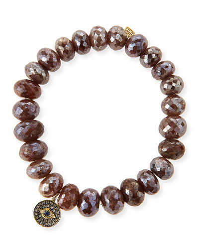 10mm Faceted Brown Silverite Beaded Bracelet with 14k Diamond Evil Eye Disc Charm