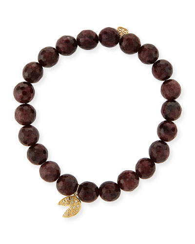 8mm Faceted Red Garnet Beaded Bracelet with 14k Gold Diamond Fortune Cookie Charm