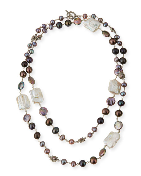 Stephen Dweck Graduated Pearl Necklace with Daisy Stations,