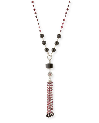 Verona Black Agate & Red Garnet Tassel Necklace