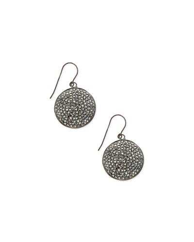 Pave Hematite Circle Drop Earrings