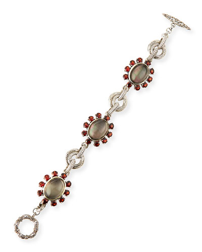 Gray Mother-of-Pearl & Garnet Bracelet