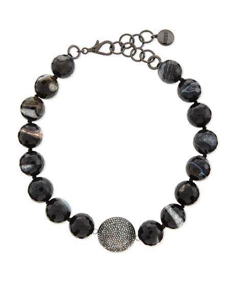 NEST Jewelry Short Black Line Agate Necklace, 17