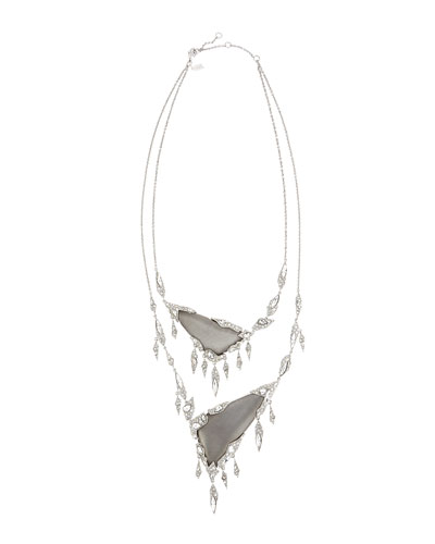 Shattered Crystal Fringe Bib Necklace