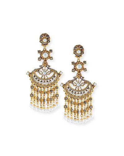 24K Gold Pearlescent Chandelier Clip Earrings