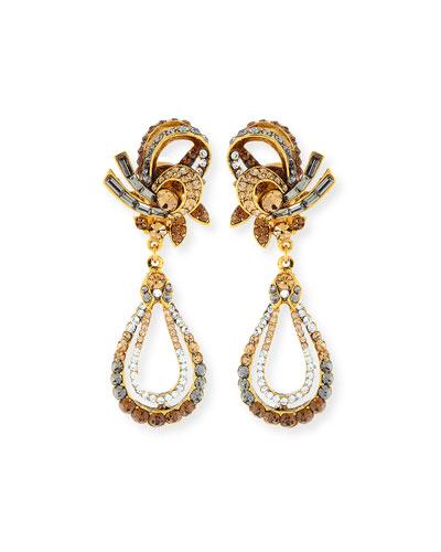 Gold-Plated Crystal Swirl Teardrop Clip Earrings