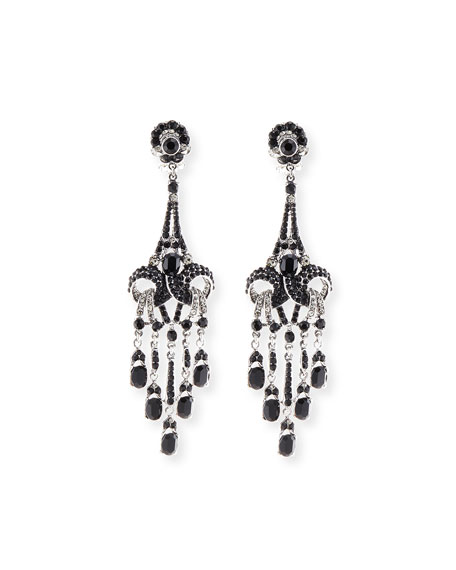 Rhodium-Plated Deco Crystal Earrings