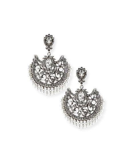 Jose & Maria Barrera Beaded Scroll Fan Chandelier Earrings