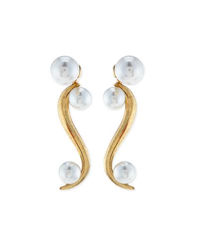 Sea Swirl Drop Earrings, Light Gold