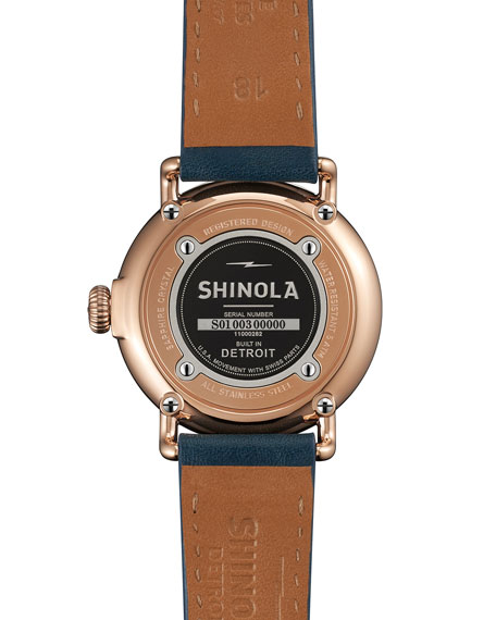 The Runwell Rose Golden Watch with Blue Leather Strap, 36mm