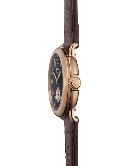 The Runwell Rose Golden Watch with Oxblood Leather Strap, 36mm