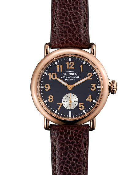 Shinola The Runwell Rose Golden Watch with Oxblood