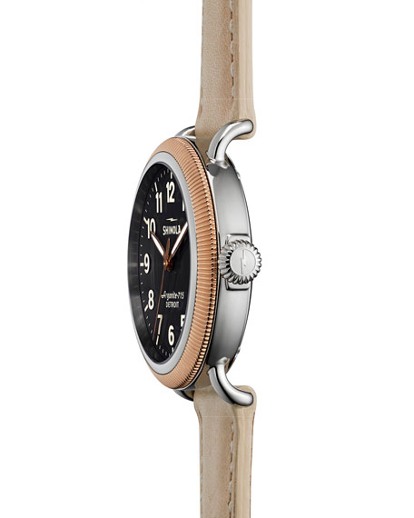 Runwell Rose Golden Coin Edge Watch with Leather Strap, 38mm