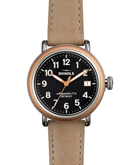 Shinola Runwell Rose Golden Coin Edge Watch with