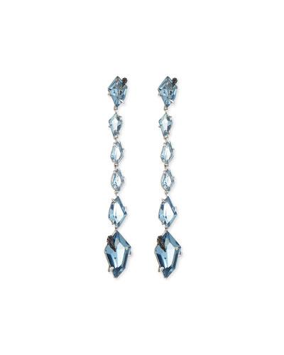 Midnight Quartz Linear Kite Drop Earrings