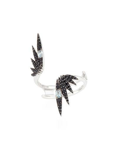 Midnight Quartz & Black Spinel Starburst Ring