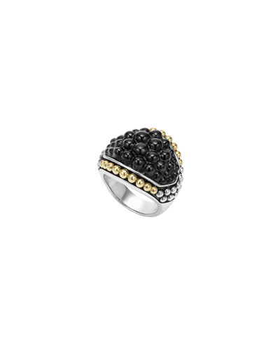 Black Caviar Onyx Dome Ring, Size 7