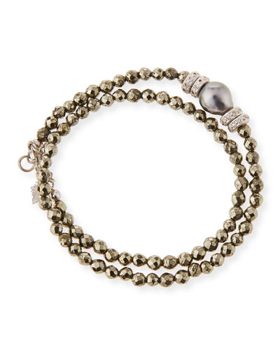 New World Tahitian Pearl & Diamond Wrap Bracelet