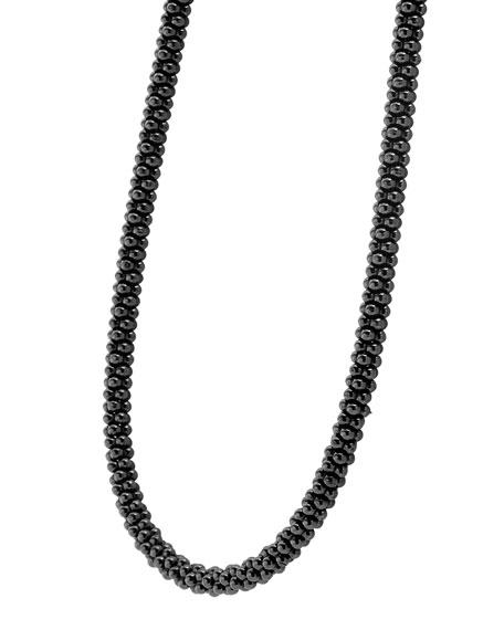 """Black Caviar Rope Necklace, 16""""L"""