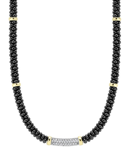 LAGOS Black Caviar Diamond Station Necklace, 0.34ct.
