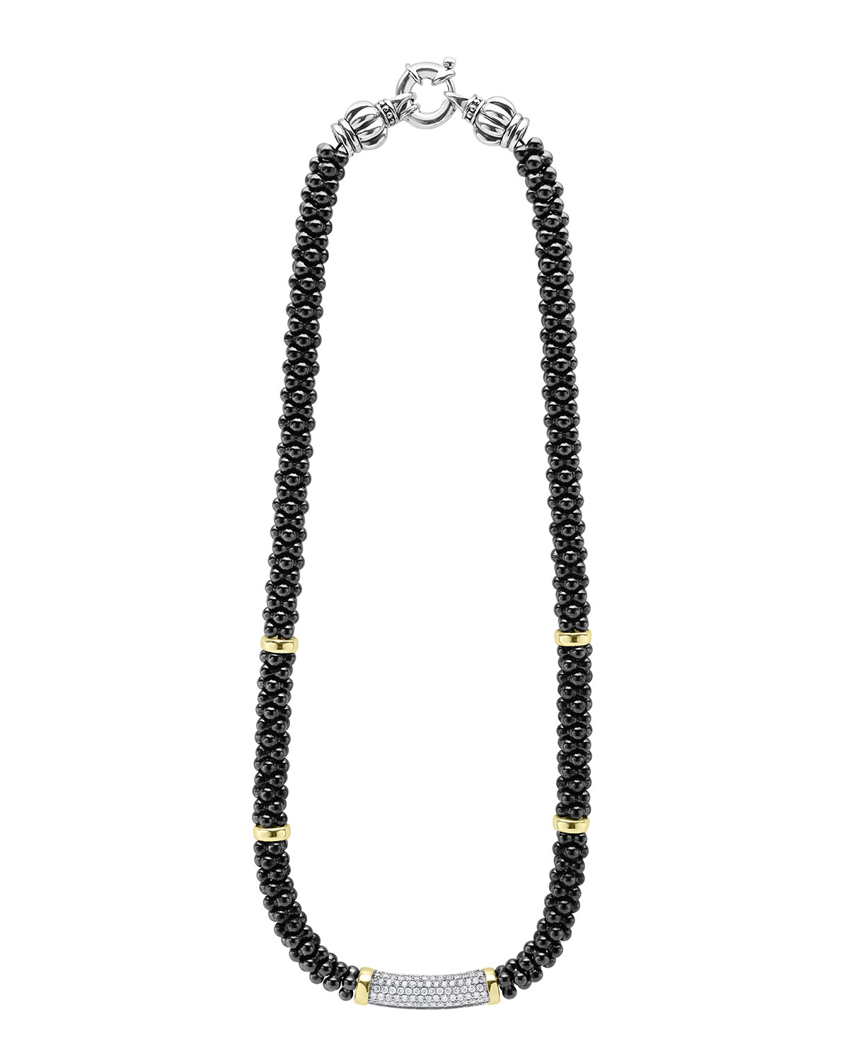 Lagos Black Caviar Diamond Station Necklace, 0.83ct