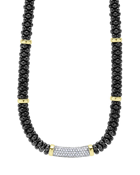 Lagos Black Caviar Diamond Station Necklace, 0.83ct.
