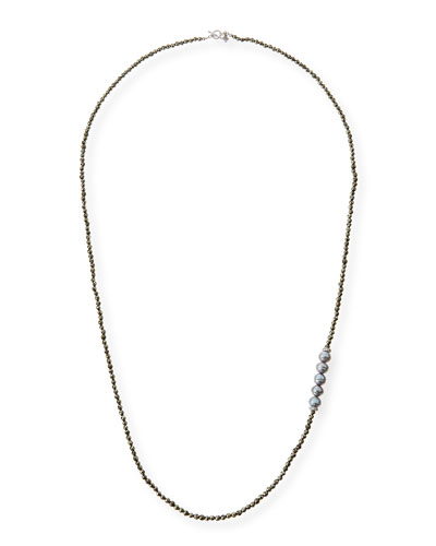 Tahitian Pearl Pyrite Necklace with Diamonds, 38""