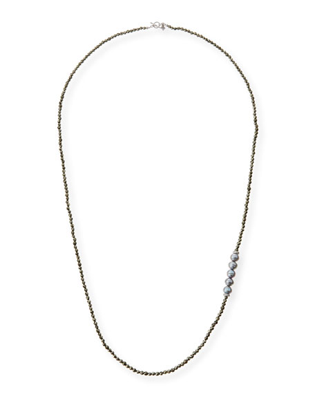 Freshwater Pearl Pyrite Necklace with Diamonds, 38""