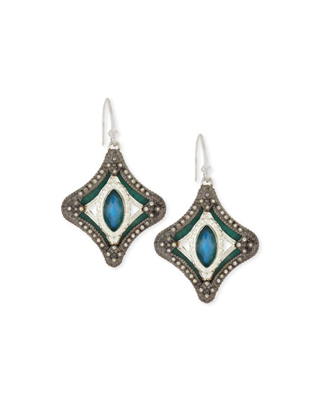 Armenta New World Mosaic Malachite Doublet Earrings