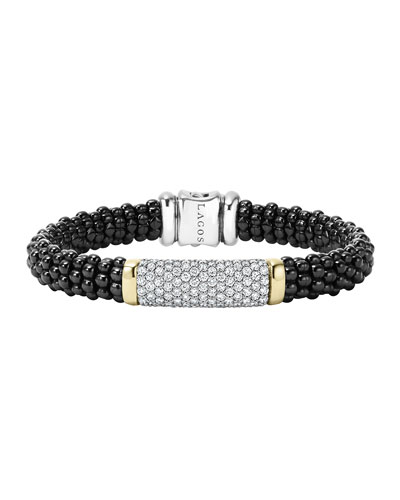 Black Caviar Large Diamond Station Bracelet, 9mm
