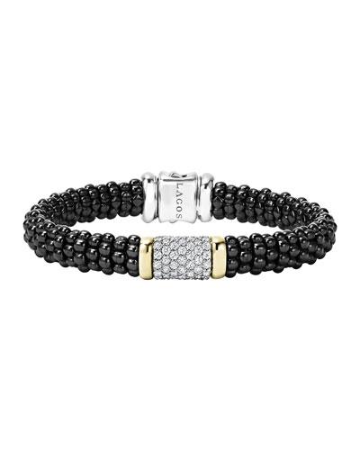 Black Caviar Medium Diamond Station Bracelet, 9mm