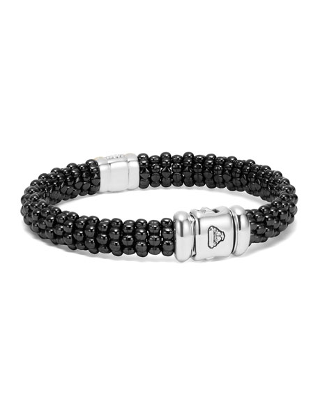 Black Caviar Small Diamond Station Bracelet, 9mm