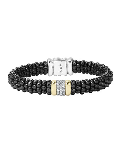 LAGOS Black Caviar Small Diamond Station Bracelet, 9mm