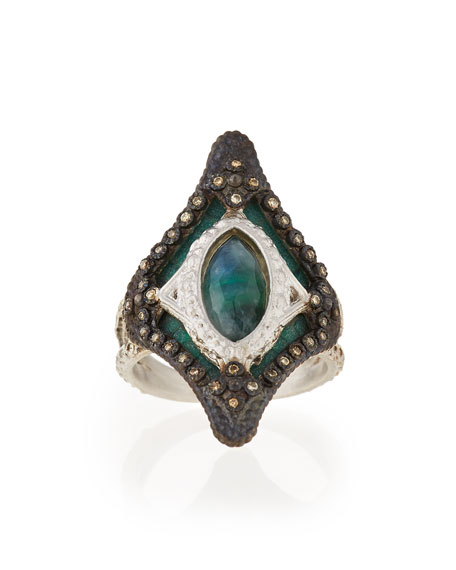 Armenta New World Large Mosaic Ring with Diamonds