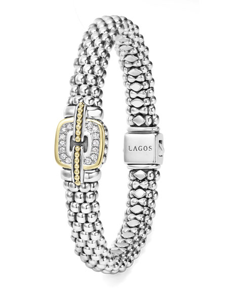 Pave Diamond Cushion Rope Bracelet, 9mm
