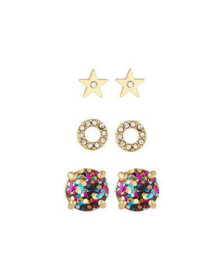 kate spade new york 3-piece crystal stud earrings set, golden/multi