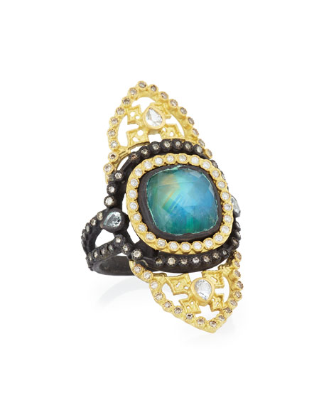 Armenta Old World Malachite/Rainbow Moonstone Saddle Scroll Ring